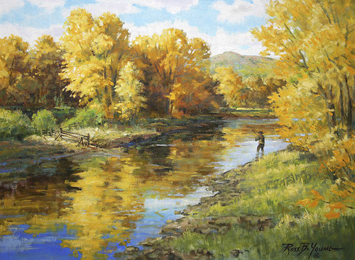 [ Fishing Sporting Art Oil Painting ]