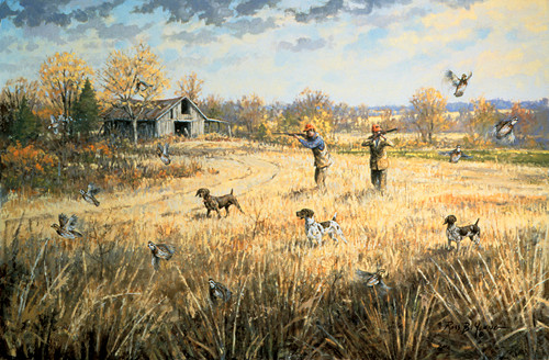 [ Quail and Dog Print Sporting Art Oil Painting ]