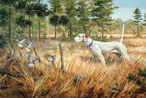 [ Quail and Dog Sporting Art Oil Painting ]