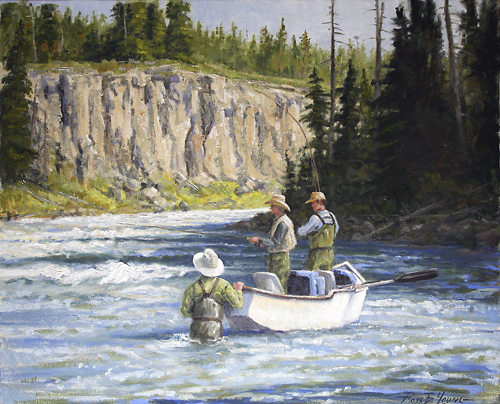 [ Fly fishing Art Oil Painting ]